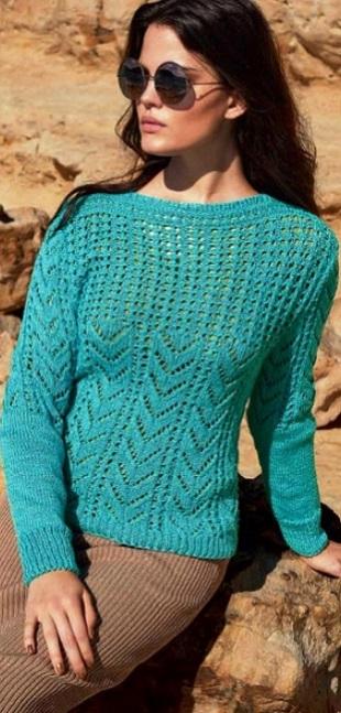 Пуловер цвета морской волны спицами