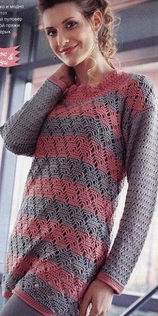 Пуловер спицами крючком