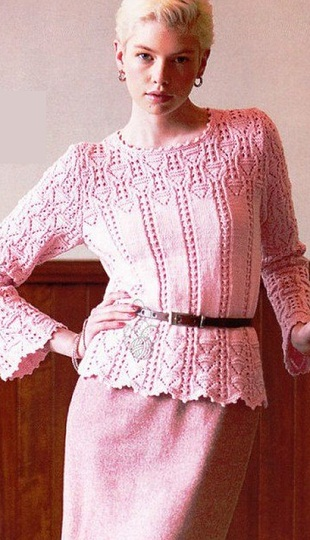 Вязание ажурного пуловера спицами