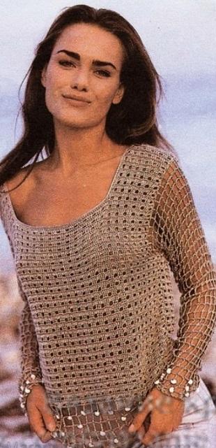 Нарядный пуловер крючком