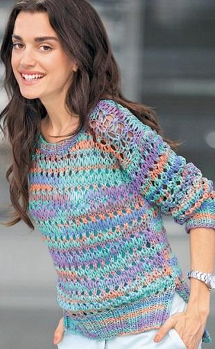 Пуловер крупной вязкой