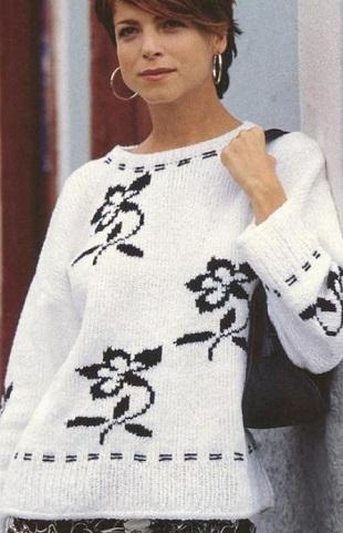Черно-белый пуловер спицами