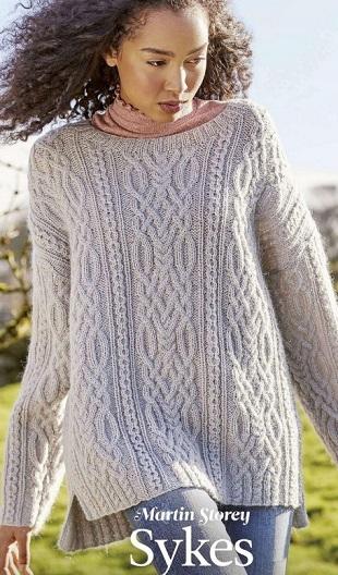 Пуловер с аранами спицами