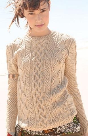 Пуловер с аранавыми узорами спицами