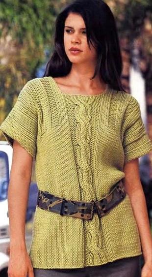 Пуловер, цвета майской зелени спицами