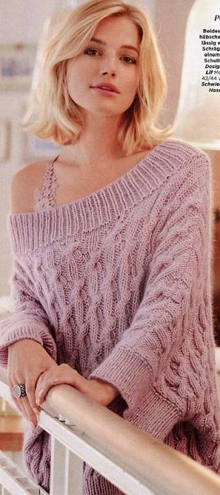 Пуловер с открытыми плечами спицами