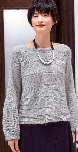 Пуловер с оригинальным рукавом спицами