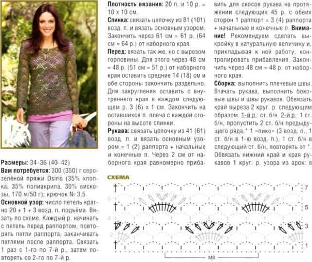 Пуловер вязаный крючком фото и схема