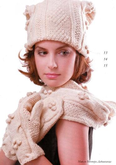 Шапочка, варежки и шарф