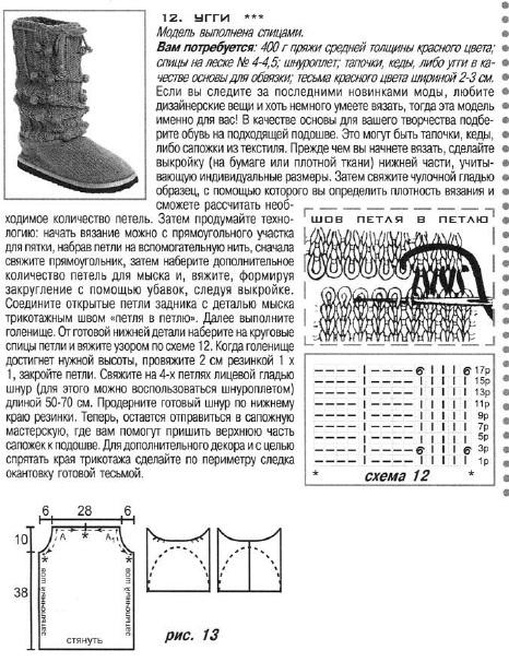 Описание вязания сапожек спицами