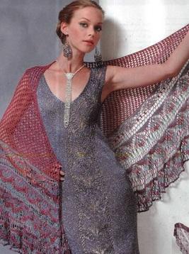Схема вязания ажурной шали крючком