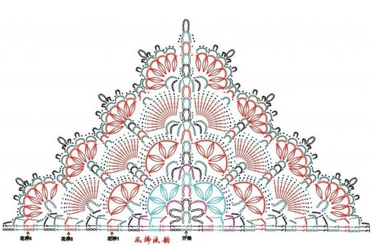 Треугольная шаль цвета индиго
