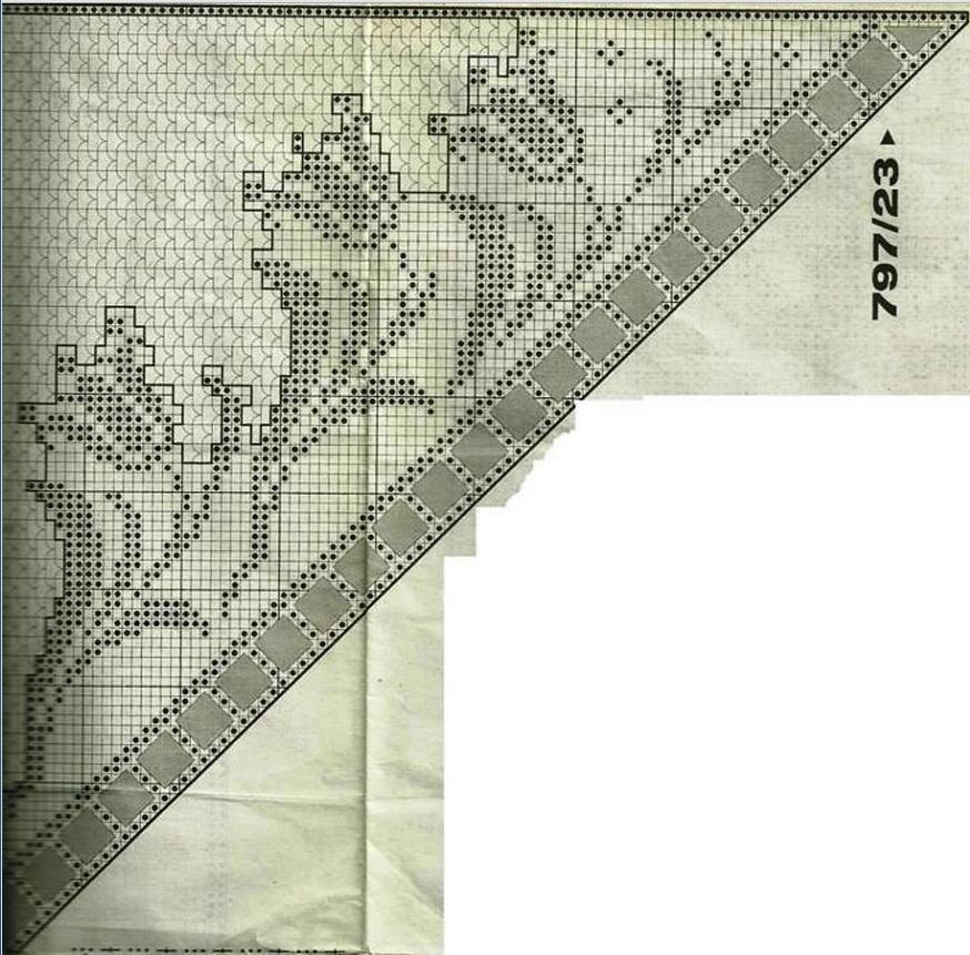 Вязание крючком схемы филейного вязания шали 197