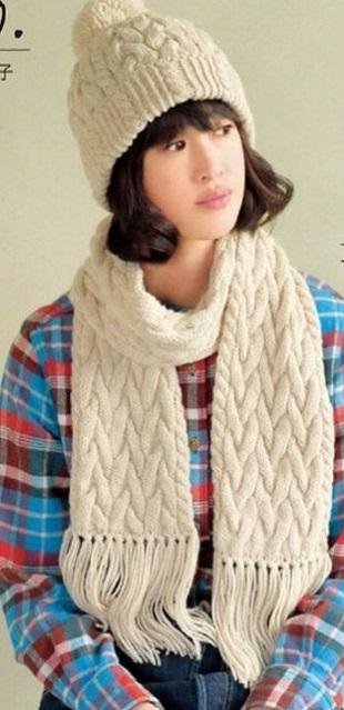 Шапка и шарф спицами 0 фотография