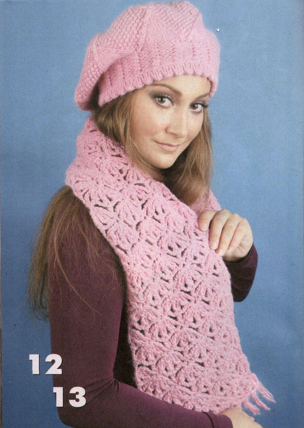 Розовый комплект. Берет и шарф.