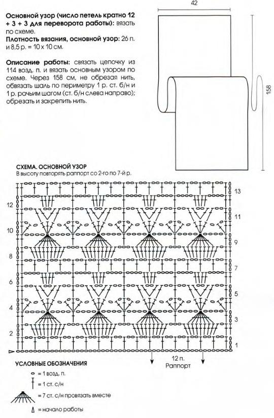 Шаль крючком схема вязания