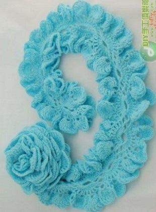 Вязание ажурного шарфика крючком