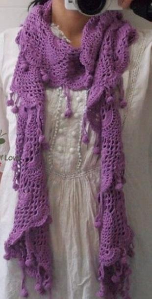 Кружевной шарф крючком