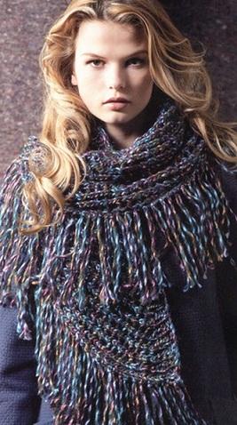 Схема вязания шарфа спицами .