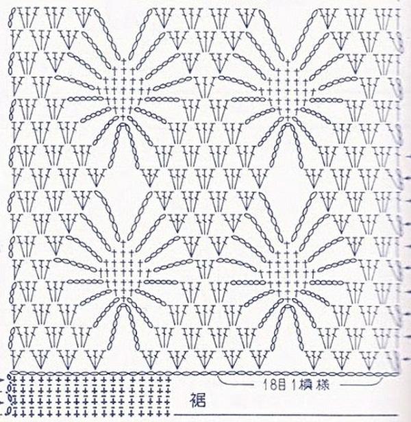 шарфик крючком ажурный схема