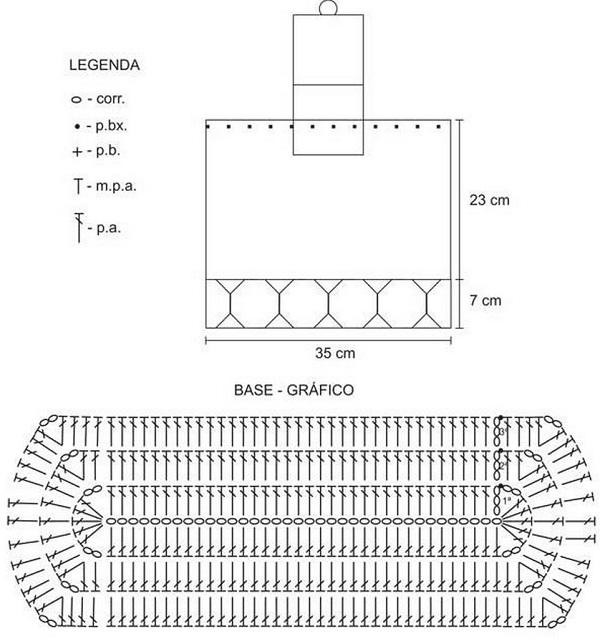 Схема вязания рюкзака крючком