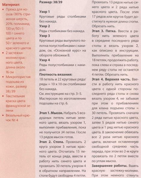 Схема вязания и описание кедов