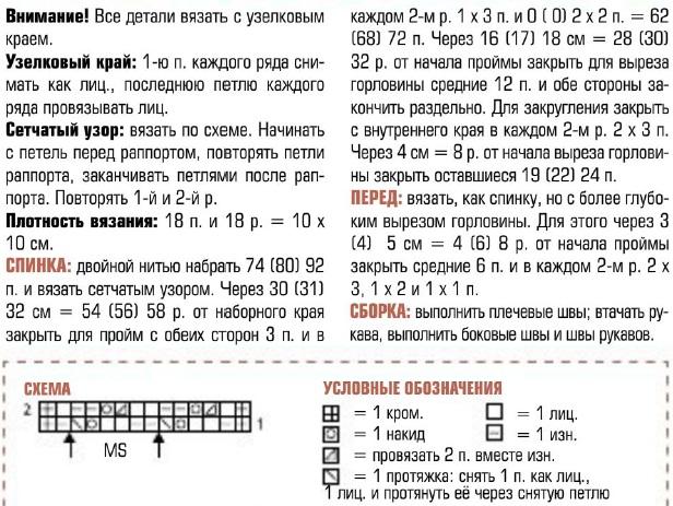 Сетчатый топ связан спицами №6