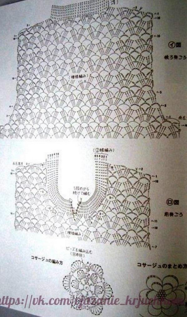 вязание спицами ажурную туники
