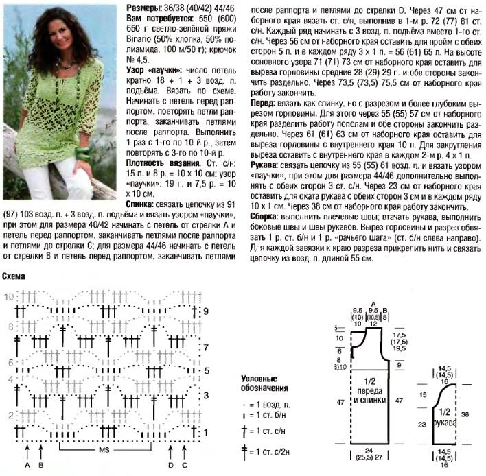 Вязание крючком красивый свитер схемы