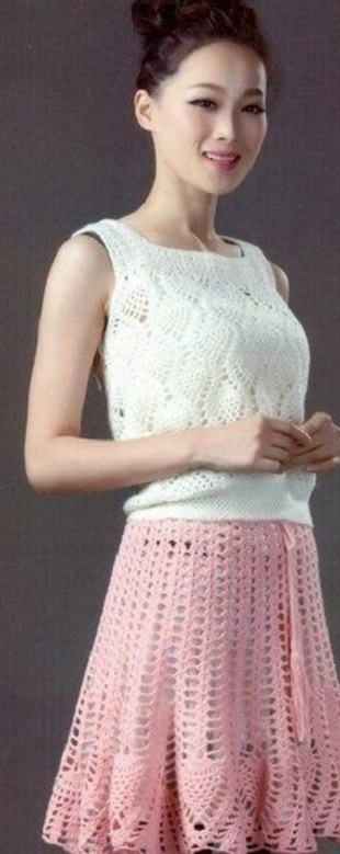 Топ и юбка крючком