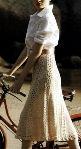 Схема вязания юбки крючком .