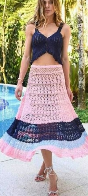 Многоярусная юбка крючком