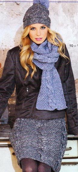 Юбка, шарф и шапочка