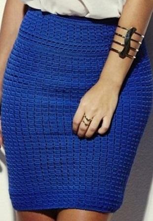 Плотный узор для юбки крючком