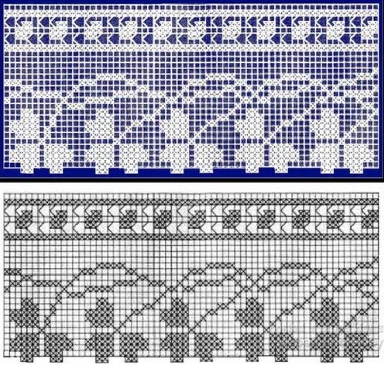 Схема вязания филейной каймы