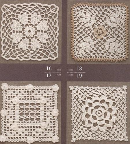 Схемы квадратных мотивов крючком