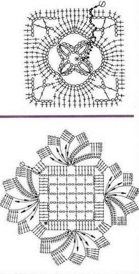 Схемы вязания квадратных