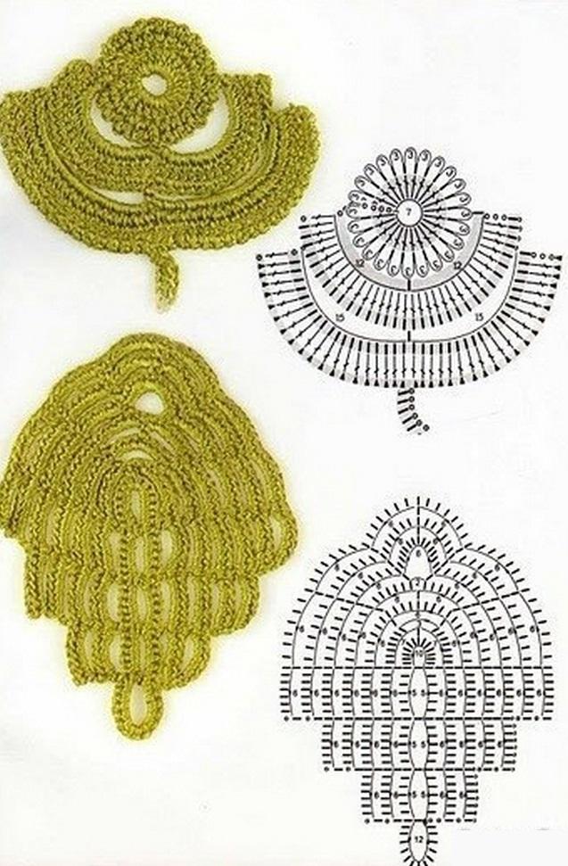 Схемы вязания листиков крючком
