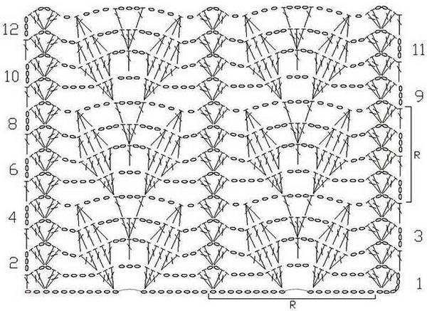 Узор вязание крючком палантин 432