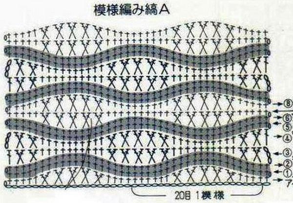 Схема вязания плотного узора