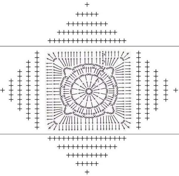 Схема вязания узора для пледа
