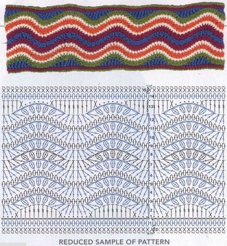 Схема вязания узора для снуда