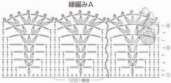 Схема вязания узора для каймы