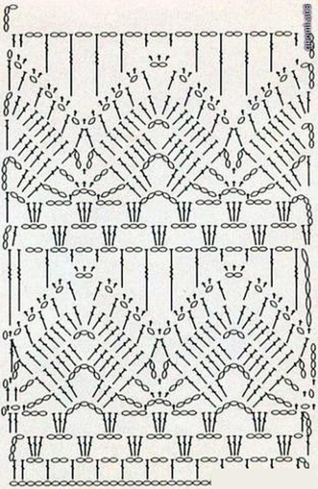 Схема узоров крючком низ платья