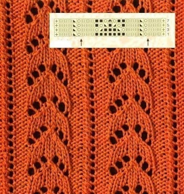 Ажурное вертикальное вязание спицами 997