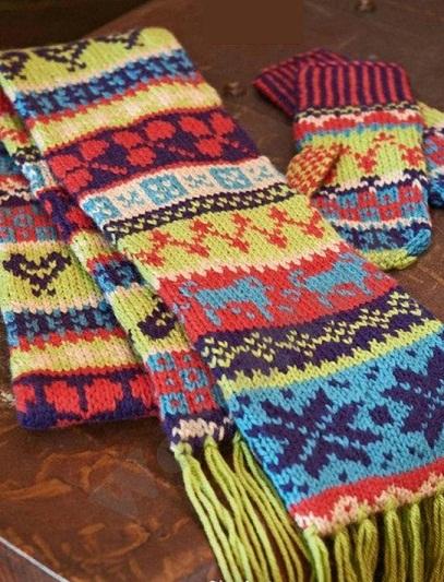 Орнамент для для шарфа и варежек спицами