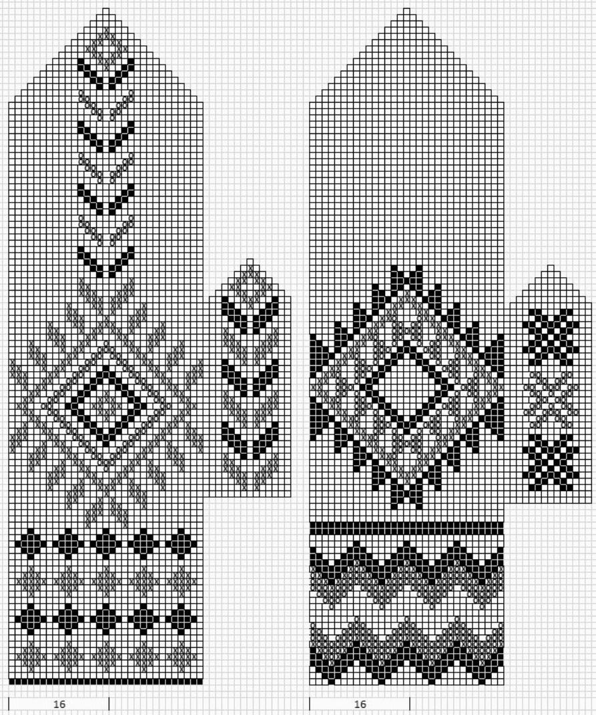 схем вязания варежок