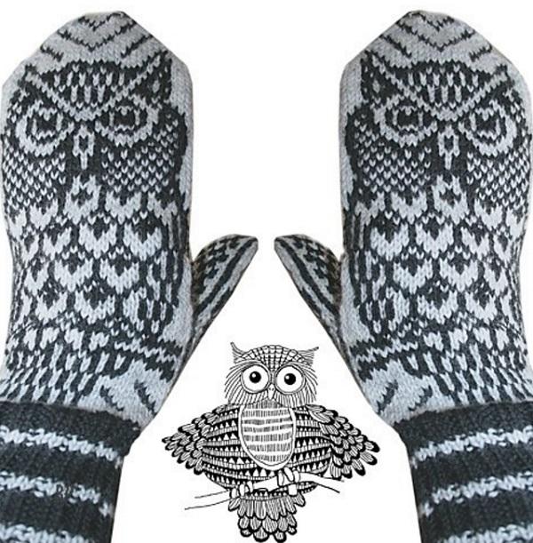 варежки с узором сова