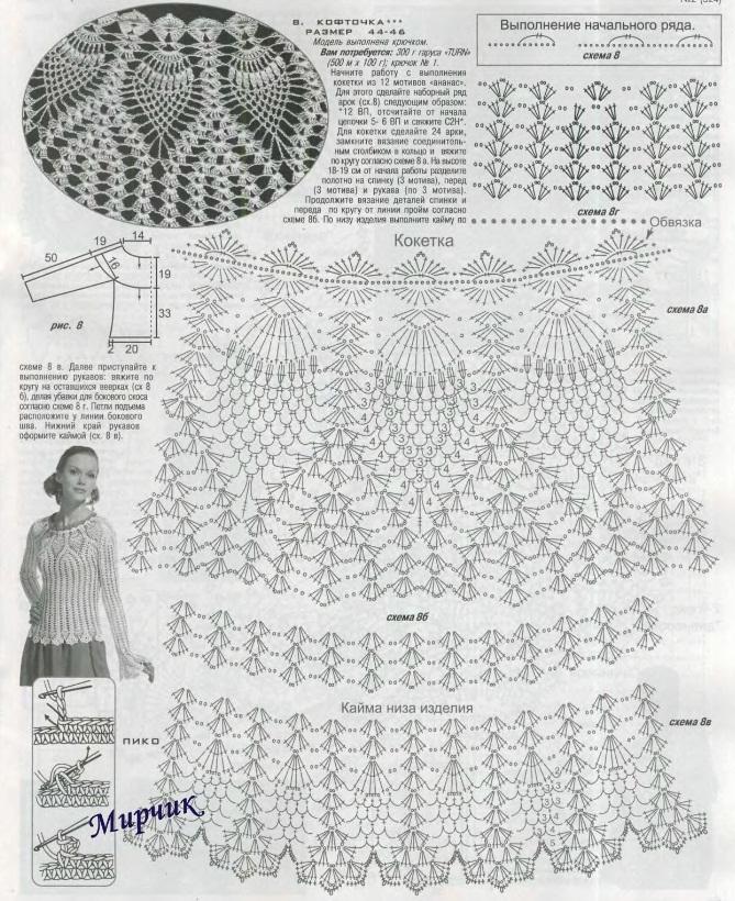 Узор ананас крючком схема