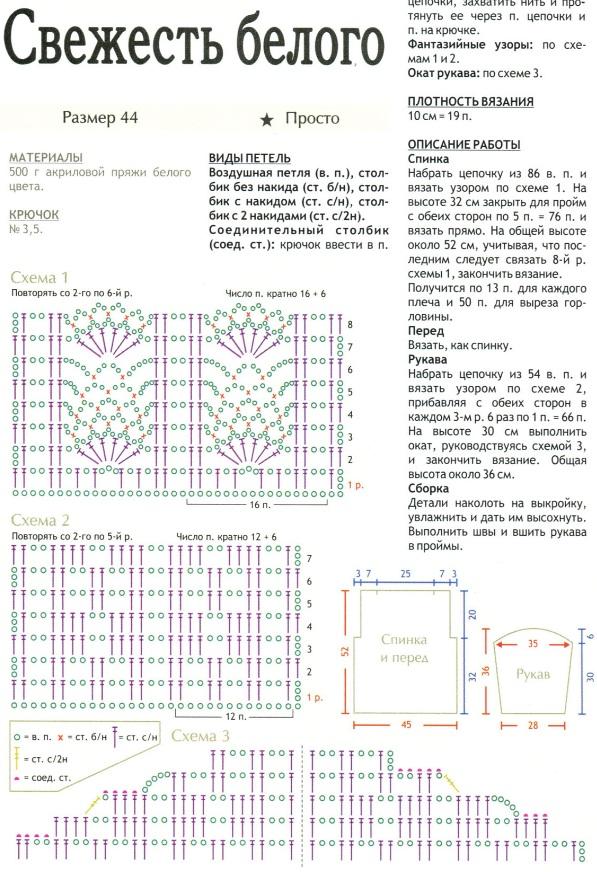 Как вязать кофты крючком для начинающих схемы7
